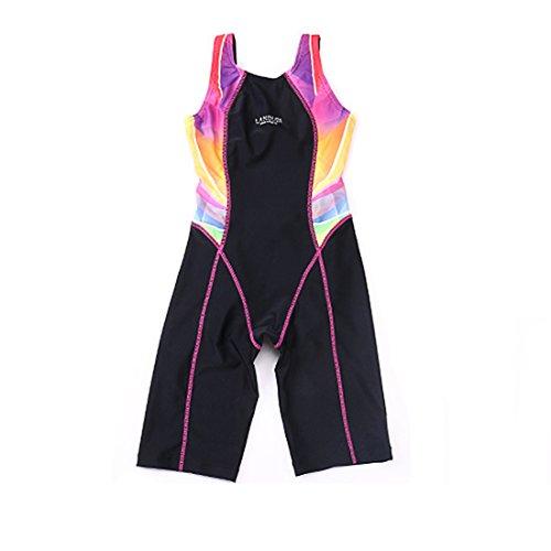 GWELL Kinder Badeanzug Wettkampf Einteilige Schwimmanzug Ärmellose Tauchanzug für Mädchen Jungen rosa 164