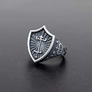 925 Sterling Silber Ring für Männer Ring Männer Schmuck Herren Geschenk für Männer Schild Ring Schwert Ring König Ring Ritter Ring mittelalterlichen Ring gotischen Ring