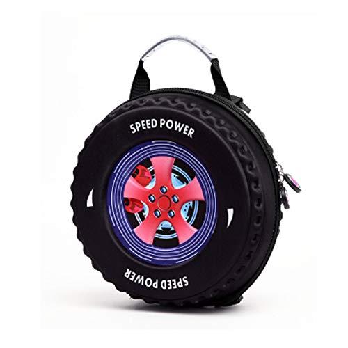 Schultasche, Studententasche, verschleißfester wasserdichter Rucksack, Mode-Reifentasche, geeignet für Kinder von 1-6 Jahren, 25 * 25 * 12 cm, blau, schwarz