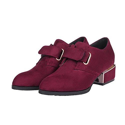 AgooLar Femme à Talon Bas Dépolissement Couleur Unie Velcro Pointu Chaussures Légeres Rouge Vineux