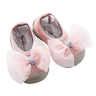Lomsarsh Newborn Baby Girls Kid Bow Soft Sole Rubber Shoes Socks Slipper Stocking Bow, Three-Dimensional Boat Socks, Floor Socks, Rubber Soles, Socks