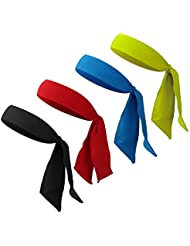 FANTESI 4 Pcs Head Tie Sports, Antideslizante Sweatband Head Ties para Running Tenis Karate Athletics