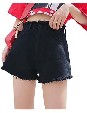 LINNUO Pantaloncini Donna Jeans Corto Denim Vita Alta Strappati Pantaloni Corti Estivi Nappa Club Sportivi Spiaggia