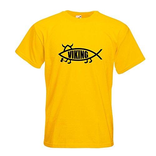 KIWISTAR - Viking Fisch T-Shirt in 15 verschiedenen Farben - Herren Funshirt bedruckt Design Sprüche Spruch Motive Oberteil Baumwolle Print Größe S M L XL XXL Gelb