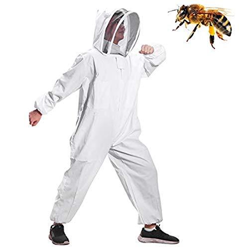 Moontay Baumwoll-Ganzkörper-Kleidung, mit Schleier, Kapuze, Handschuhe, Mütze, Schutz für Imker und Imker MEHRWEG -