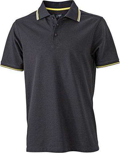 JN966 Men´s Coldblack® Polo Black-White-Yellow