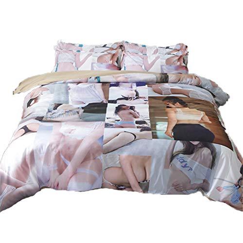BettwäSche-Sets 3/4Pcs 3D-Bild Design Weich Atmungsaktiv Bettbezug-Set BläTter Mit KissenbezüGe Zum Fans Junge MäDchen Dekoration TröSter Set Voll GrößE,Double(5feet) ()