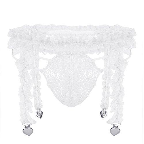 iixpin Herren Spitzen Erotik Dessous Slip String mit Strumpfhaltergürtel-Dessous Bikini Männer Sissy Reizwäsche Unterwäsche Pink Schwarz Weiß Partykleidung Clubwear Weiß XL