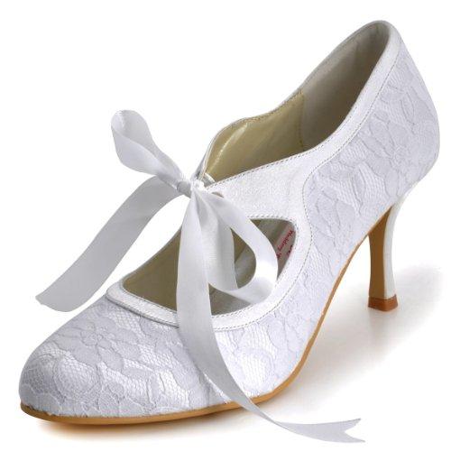 ElegantPark A3039 Escarpins Femme Ruban Talon Haut Bout Rond Dentelle Satin Stiletto Mary Janes Chaussures de Mariage Mariee