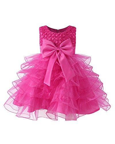 Kidsform Baby Mädchen Prinzessin Kleid Taufkleid Festlich Kleid Hochzeit Partykleid Festzug Babybekleidung Rose 6-12M