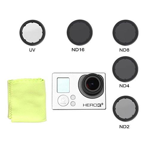Holaca Graufilter und UV-Objektiv, ND2,ND4,ND8,ND16Filter, mit UV-Schutzglas, FPV-Objektiv, für GoPro Hero3,3+, 4, rund