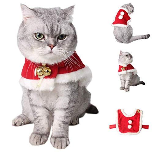 QSEVEN Katze Weihnachtskostüm, einstellbar Santa Pet Cape Katze Santa Kleidung mit Glocken Xmas Outfit für Hunde & Kitty Sweet Gift