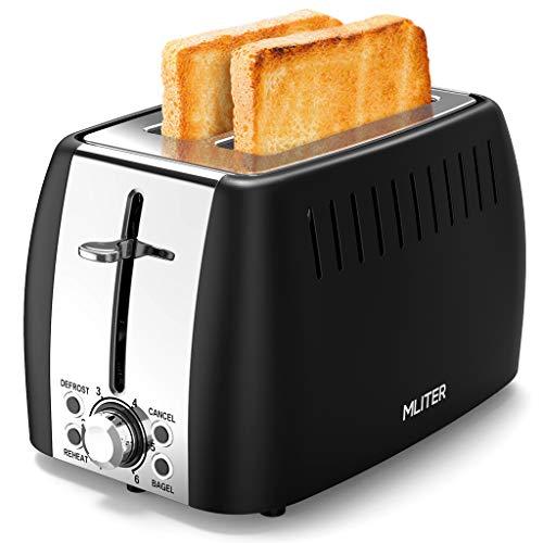Mliter Tostapane per Toast a 2 Fette, 875W 6 Impostazioni di Tostatura, Larga Automatica, Acciaio Inossidabile, con Funzione Scongelamento, Riscaldamento