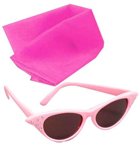 Kinder Kostüm Sandy Grease - Ladies Pink Fancy Dress Glasses And Pink Scarf Grease Sandy 50's 1950's Costume#(Scarf & Glasses#Pink)