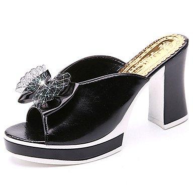 zhENfu donna pantofole & amp; flip-flops sandali Comfort PU Estate Casual Walking Bowknot Chunky Heel Bianco Nero 3A-3 3/4in Black