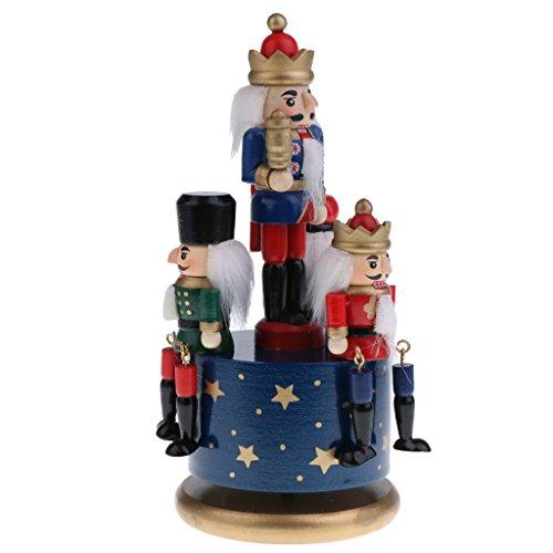 Sharplace Weihnachten Hölzerne Nutcracker Figuren Spieluhr - 4 Soldaten auf der Basis - Spieldose mit Uhrwerk - Weihnachtsgeschenk für Freunde - Blaue Basis