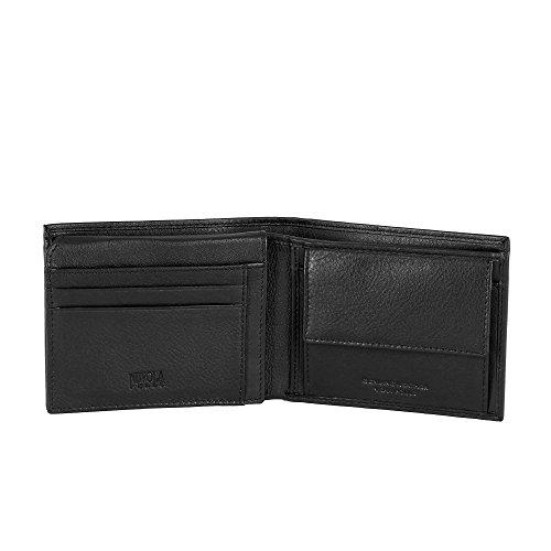 Portefeuille pour homme en cuir avec porte-monnaie et poche pour les billets Nuvola Pelle Noir
