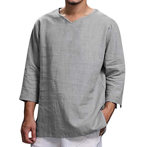 REALIKE Herren T-Shirt Lange Ärmel Mode Top mit Rundhalsausschnitt Unterhemden Einfarbig Muskelshirt Fitness Oberteile Khaki Navy Grey Basic für Männer bis Größe M-4XL -