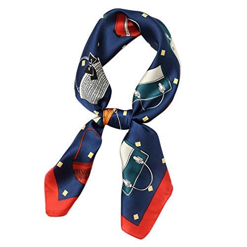 XWBO Damen Halstuch Quadrat Schal Nachgeahmte Seide Kopftücher Bandana Haar Wraps süß Blume Muster Kopftuch Halstuecher für Frauen 70x70cm ()
