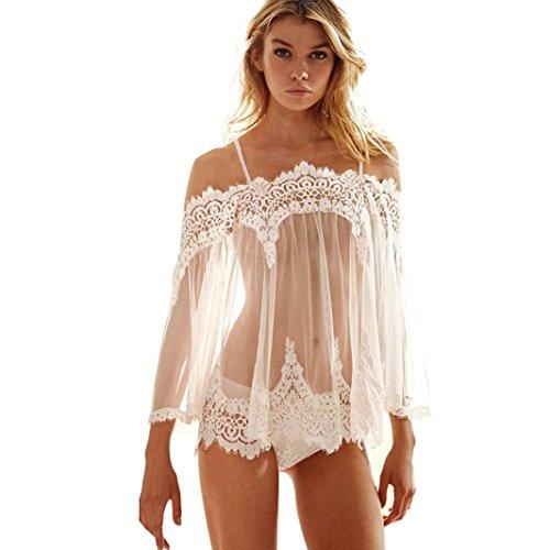 Beikoard Sexy Dessous, Dessous Frauen Unterwäsche Transparent Nacht Schnürsenkel Blumenmuster BH Kleid G-String Set (Weiß, XXXL)