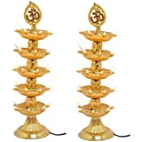 KERWA Premium 5 Layer New Electric Gold LED Bulb Lights Diya/Deep/Deepak For Pooja/Puja/Mandir Diwali Festival Decoration || (Pack Of 2) || S-03