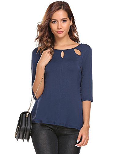 Meaneor Damen Shirt 3/4 Arm Bluse Modal Obereteil Loch T-Shirt Silm Fit Uni Top Tunkia in 3 Farbe Blau
