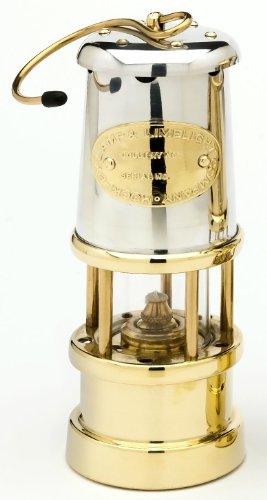 Grubenlampe Messing mit Runddocht, Oberteil vernickelt, Höhe 170 mm, von Lamp & Limelight Company Wales -