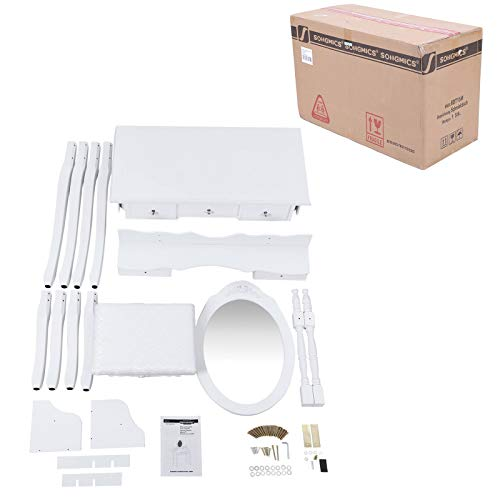 Songmics 5 Schubladen Schminktisch mit Spiegel Hocker, inkl. 2 Stück Unterteiler, Kippsicherung, weiß 80 x 145 x 40 cm (B x H x T) RDT15W - 22