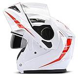 Casco de la motocicleta de la cara llena del tirón para Arriba, Casco a prueba de niebla de la lente Doble, cascos a prueba de Lluvia del Motocross para Four Seasons los 56-60cm