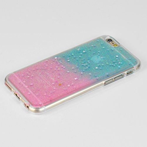 iProtect Apple iPhone 6 6s biegsame TPU Soft Case Hülle Sterne und Glitzer in grün und silber Glitzer türkis/rosa