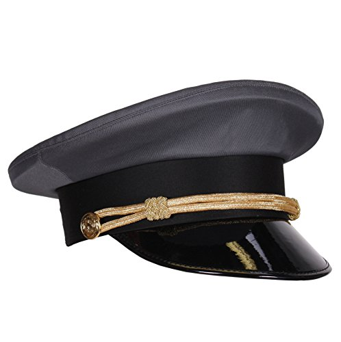 Mütze Kostüm Chauffeur - Chauffeur-Mütze grau mit Kordel & Lackschirm | Hochzeits Fahrer Mütze | Größe 57 (57)