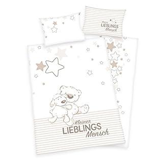 Arle-Living 3 TLG. Baby Bettwäsche Wende Motiv: Kleiner Lieblingsmensch - Flanell 100x135 cm + 40x60 cm + 1 Spannbettlaken 70x140 cm (mit Laken: Natur, Flanell)