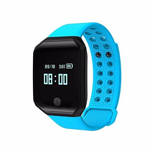 Lemumu Schickes Armband Kalorien Schrittzähler Übung Datensatz APP Control Blutdruckmessung Impuls Tracker Schrittzähleraktivität Tracker, Blau gebrannt (Microsoft-übung Band)