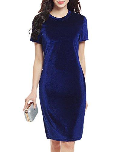 Elégante Tunique Robe Femme Casual Robe De Velours Manches Courte Mini Robe Portefeuille Moulante Soirée Décolleté Saphir Bleu