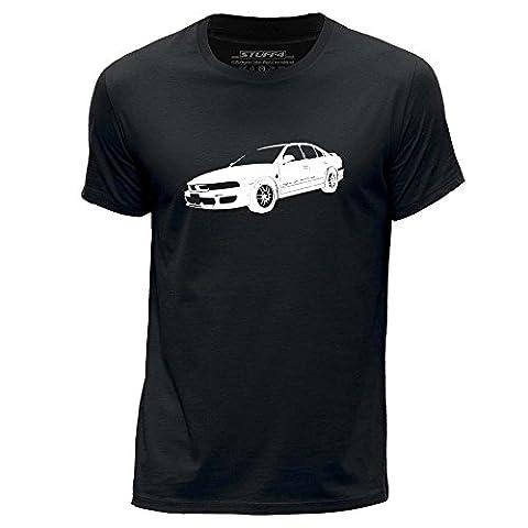 STUFF4 Men's Large (L) Black Round Neck T-Shirt/Stencil Car Art / Galant VR4