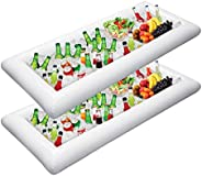 Jasonwell 2 PCS Inflatable Serving Bars Ice Buffet Salad Serving Trays Food Drink Holder Cooler Containers Ind