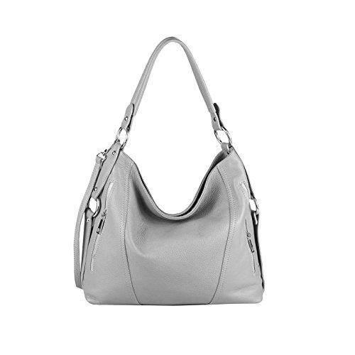 OBC MADE IN ITALY cuir véritable vera pelle Femmes Sac de courses sac à Anses Sac à bandoulière gris clair