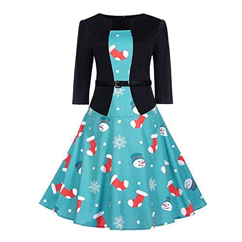Longra Weihnachtskleid Damen 3/4 Arm Weihnachten 2-in-1-Kleid mit Elegante Kurz Blazer Rockabilly...