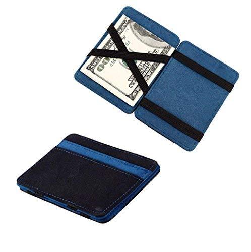 Saisiyiky Grind mini portafoglio/porta carte di credito magico pieghevole doppio, in pelle PU, colore: neutro Free size blu