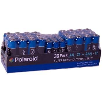 Polaroid - Pilas AA y AAA de larga duración (24 AA y 12 AAA)