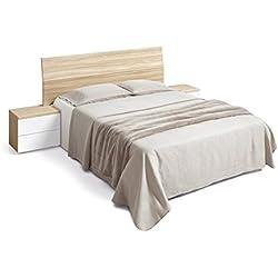 Habitdesign 016073W - Cabezal de cama de matrimonio y 2 mesitas con 2 cajones, color Nature y Blanco Brillo, dimensiones 256 x 99 cm de altura