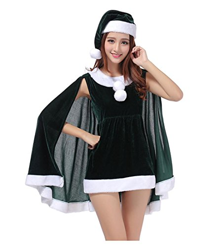 Sexy Frauen Mädchen Weihnachtskostüm Cosplay Weihnachtsmann Kleid mit Umhang und Hut , dark green , (Velvet Gothic Kostüme Kleid)