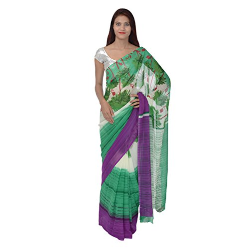 Saundarya Sarees Women Chiffon Printed White and Green Saree