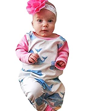 Baby Strampler Baby Schlafstrampler für Junge Mädchen Longra Neugeborenes Baby Whale Print Warme Strampler Overall...