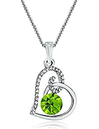 Mother's Day Gift Sale Heart Clear Green Birthstone Crystal Pendant Necklace For Women Mum Girlfriend Gifts