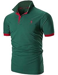 YCUEUST Polo para Hombre Manga Cortas Bordado Contrast Collar Golf Camiseta 46166f63167f5