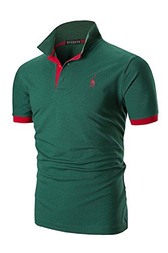 YCUEUST Uomo Cotone Giraffa Ricamo Manica Corta Polo Tennis Golf Casual T-Shirt Verde...