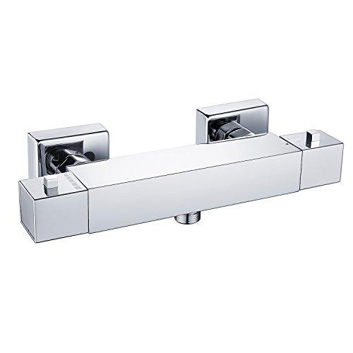 Thermostat Brausethermostat Duschthermostat Dusch- & Badewannenarmatur für Badausstattung Brausemischer Aufputz Chromohne Handbrause mit 38 °C Sicherheitstaste