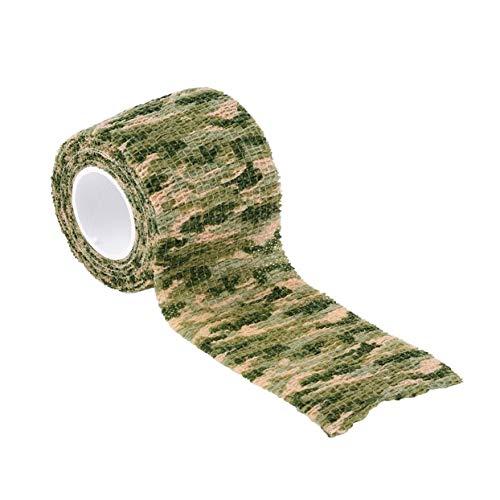LoveOlvido Elastische Tarnung wasserdichte Outdoor-Jagd Camping Stealth Camo Wrap Tape Militär Airsoft Paintball Stretch Bandage - Grasgrüne Tarnung -