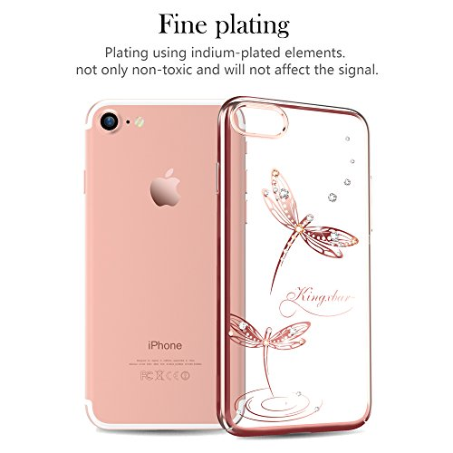 "Kingxbar for iPhone 8 Plus/7 Plus Coque, Cair Cristaux de SWAROVSKI Element Anti Scratch Anti poussière avec 1mm Ultra Mince PC dur Transparent Housse Etui for 5.5"" iPhone 7/8 Plus((Net-Black)) Dragonfly-Rose"